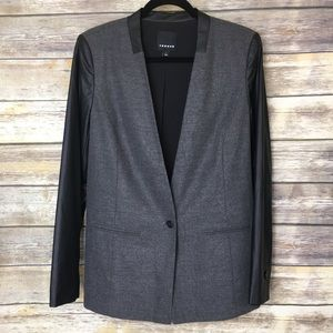 Trouve Gray and Black Faux Leather Sleeve Blazer